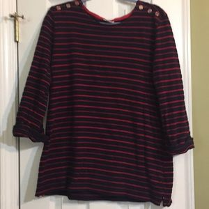 Croft and Barrow Navy and Red striped sweater